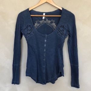 Free People Keepsake Henley Blue Navy